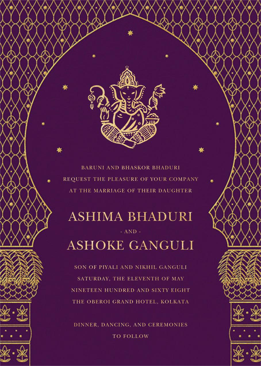 Vinayanka Invitation Purple Send Online Instantly Rsvp Tracking Indian Wedding Invitation Cards Indian Wedding Cards Hindu Wedding Invitation Cards