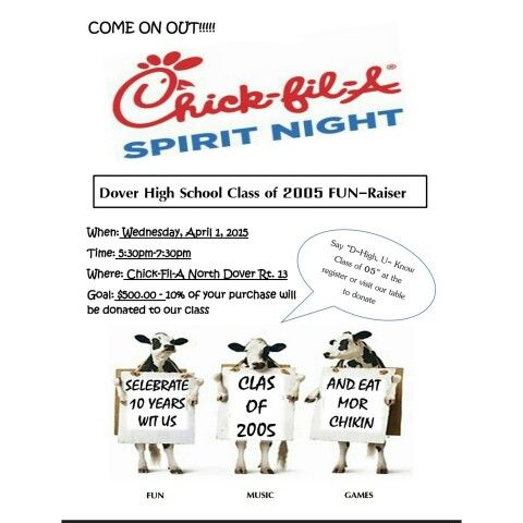 chick fil a spirit night dover high class of 2005 flyer created through microsoft word random. Black Bedroom Furniture Sets. Home Design Ideas
