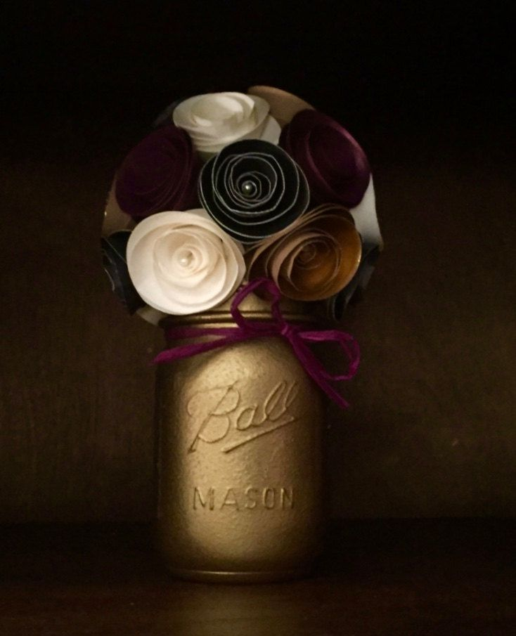 Rustic Mulberry, Gold, Cream & Black paper flower bouquet- Hand Painted Mason Jar by SisterActDesigns on Etsy