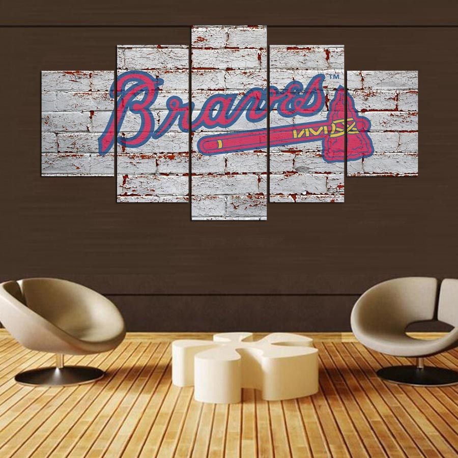 Atlanta Braves Baseball 5 Panel Canvas Wall Art Home Decor Anime Decor Canvas Wall Art Buck Deer