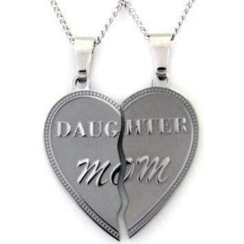 Mom daughter necklace heart pendant set 2 half heart pieces 2 18 mom daughter necklace heart pendant set 2 half heart pieces 2 18 inch chains mother daughter jewelry aloadofball Choice Image