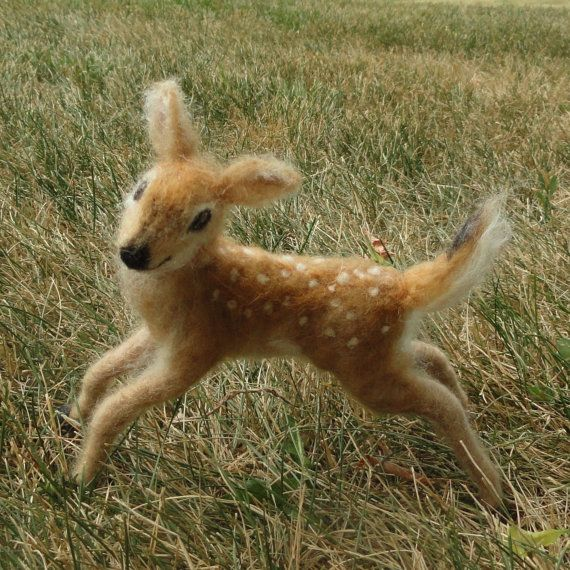 Claudia Marie Felt: Needle Felted Deer Fawn, White Tailed, Wool via Etsy