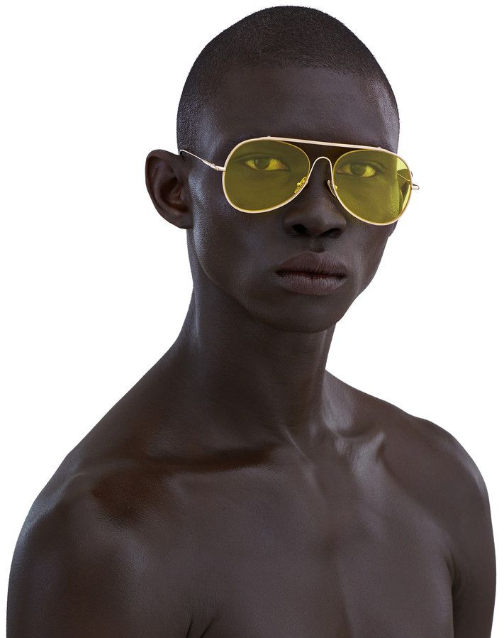 44d8b9d894345 Acne Studios Spitfire Large Gold Yellow Large aviator sunglasses ...