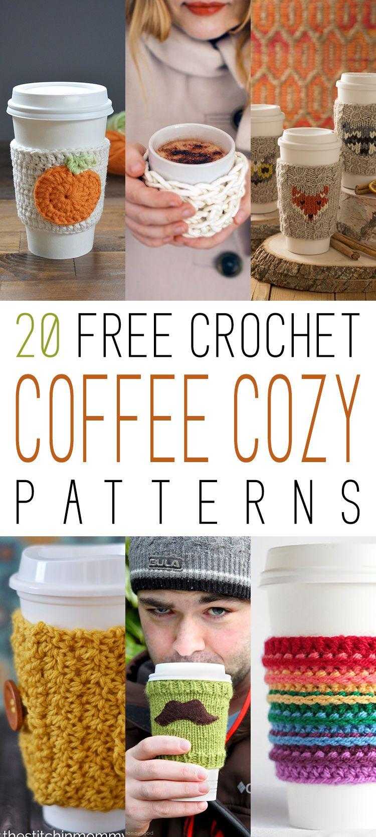 20 Free Crochet Coffee Cozy Patterns | Tejido, Portavasos y Puntadas ...