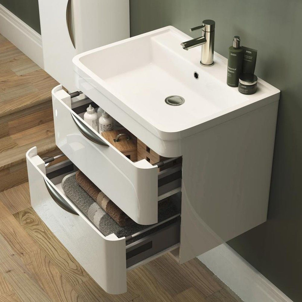 Parade 800mm Wall Hung Vanity Unit Including Polymarble Basin With 1 Tap Hole Bathroom Storage Solutions Clever Bathroom Storage Small Bathroom Storage Solutions