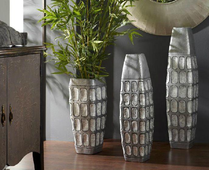 Jarrones color plata jarrones decorativos mache - Jarrones decorativos para jardin ...