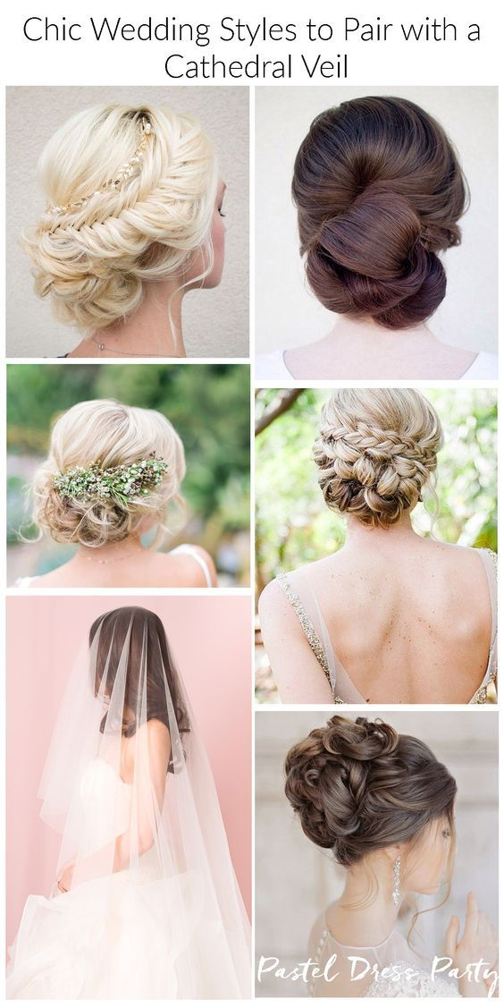 Five Chic Wedding Hairstyles To Pair With A Cathedral Veil These Would Be Great For Any Formal Occasion Bridal Updo With Veil Veil Hairstyles Bridal Hair Veil