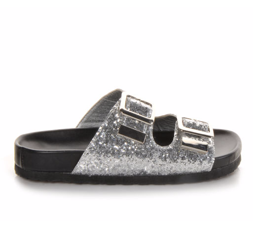 Slide into something sparkly. #sandal #footbed #silver #sequin #style #summer