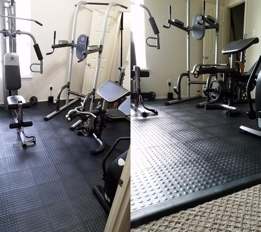 StayLock Tile Bump Top Black Home gym flooring, Gym room