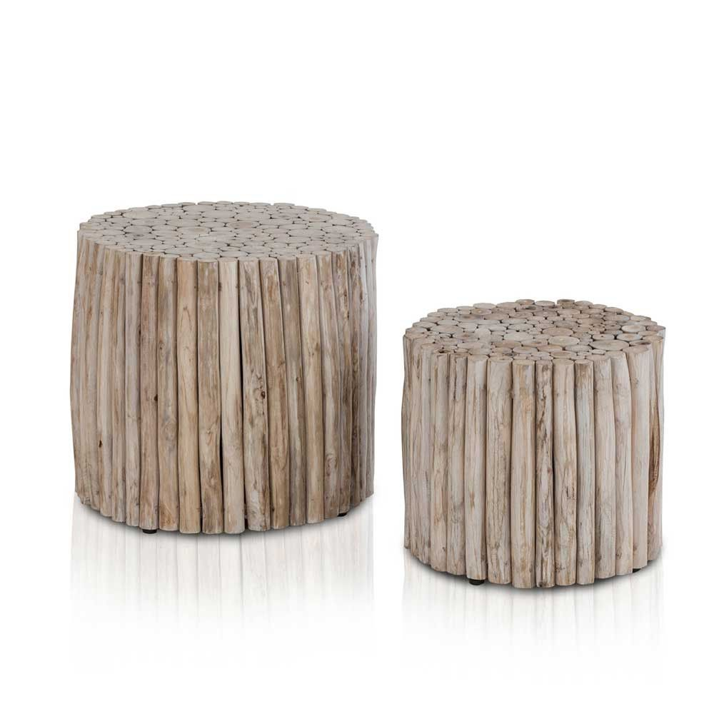 Beistelltische Modern zweisatztisch aus teak massivholz modern 2 teilig zwei
