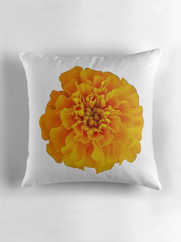 Marigold On A Transparent Background Throw Pillow By Ellenhenry Throw Pillows Printed Throw Pillows Pillows