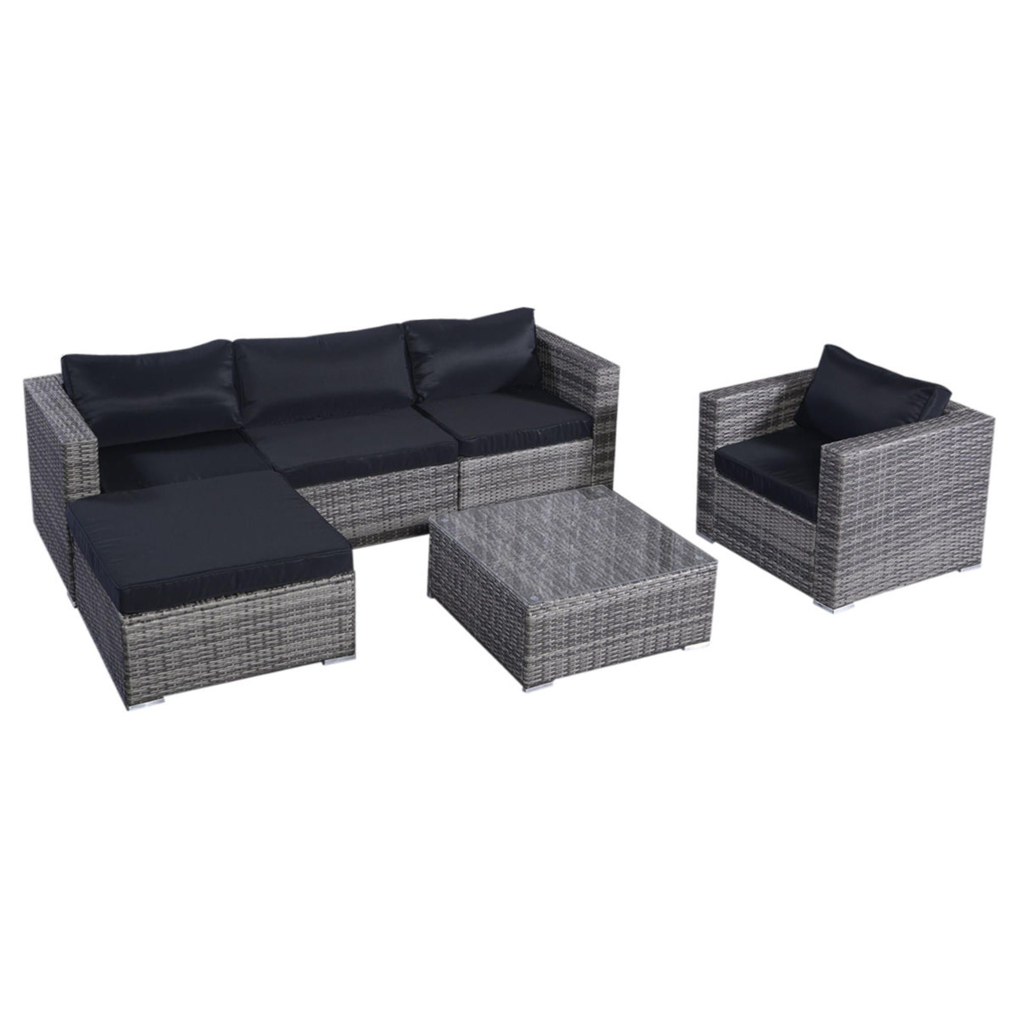 Goplus Goplus 6PC Furniture Set Aluminum Patio Sofa PE Gray Rattan Couch 2  Set Cushion Covers. Outdoor Wicker ... Part 90