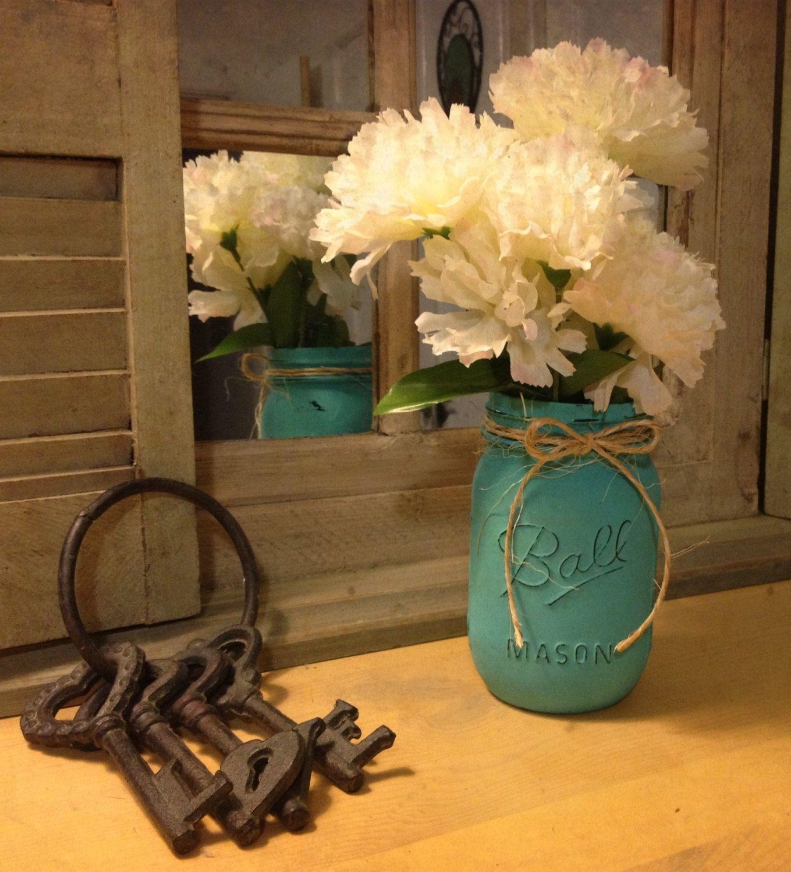 painted mason jar shabby chic decor mason jar tiffany blue jars wedding and shabby chic. Black Bedroom Furniture Sets. Home Design Ideas