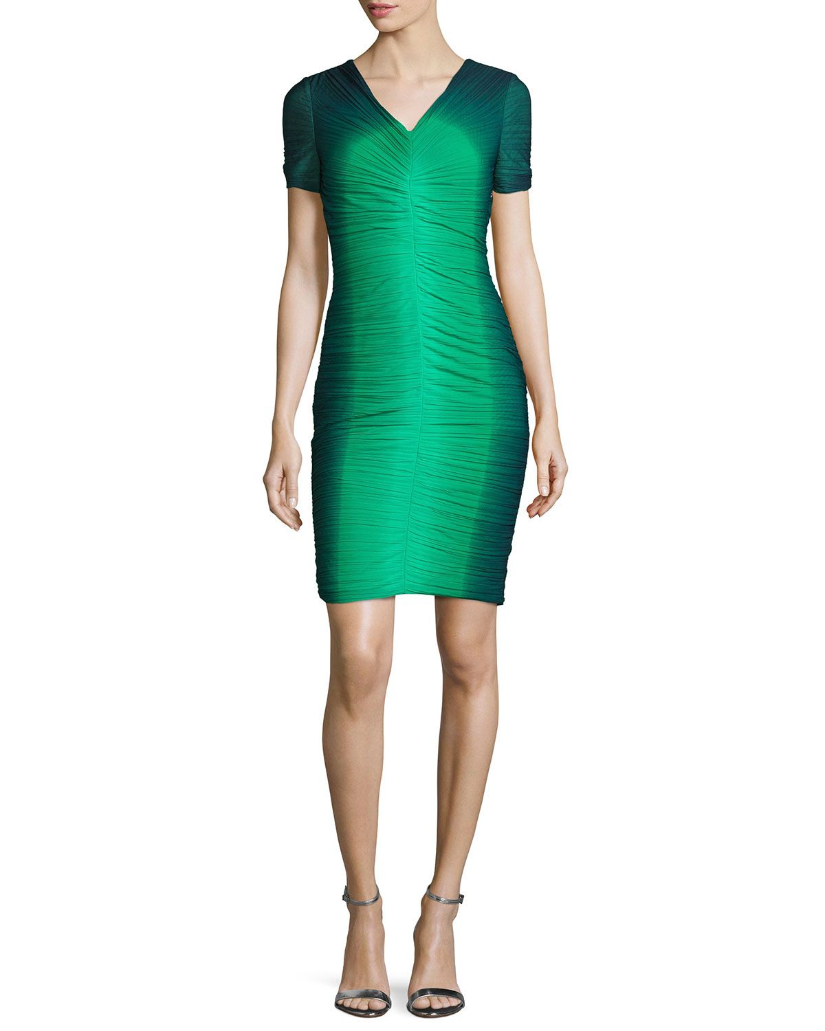 Ombre ruched cocktail dress grassnavy ombre greennavy ombre