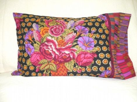 Kaffe Fassett reverse purple pillowcase Set of 2