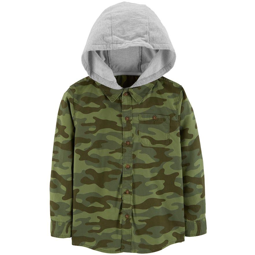6f413224d Boys 4-12 Carter s Hooded Button Down Flannel Shirt