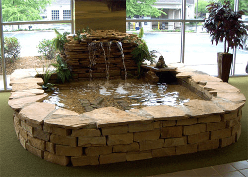 Indoor Fish Pond With Fountain And Waterfall Indoorfishpond Indoor Water Features Indoor Pond Indoor Fountain