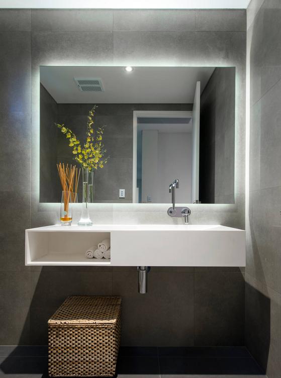 Twilight Rectangle Bathroom Mirror With LED Light Backing