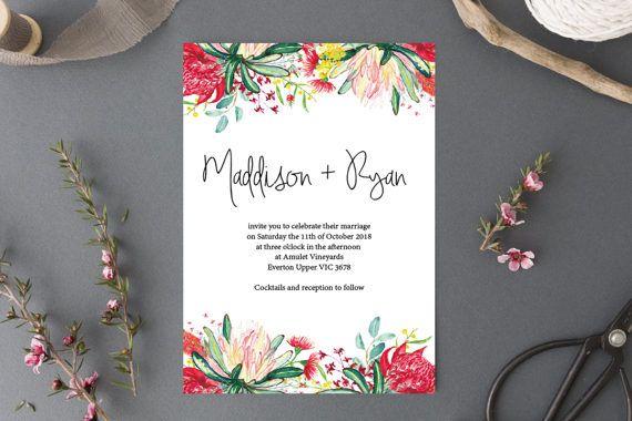 Native American Wedding Invitations: Printable Wedding Invitation // Australian Natives