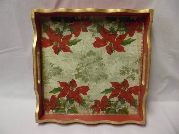 Bandeja quadrada grande em mdf decorada com decoupagem de for Bandejas de navidad