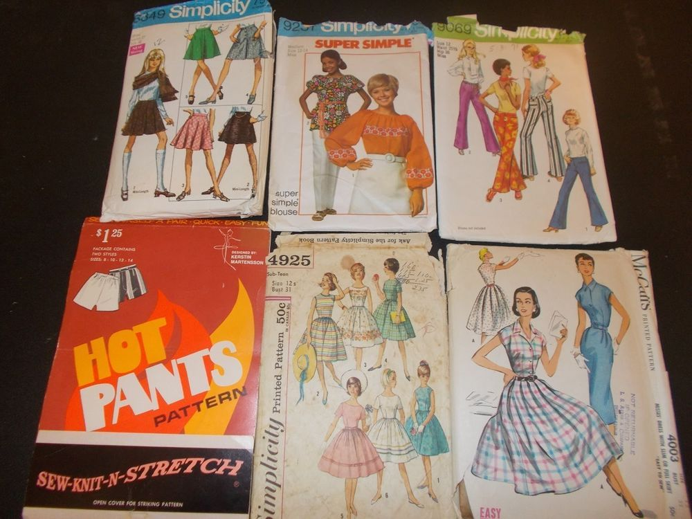 Inventory 132 Vintage Sewing Patterns this is a Lot of 6 size 12 patterns