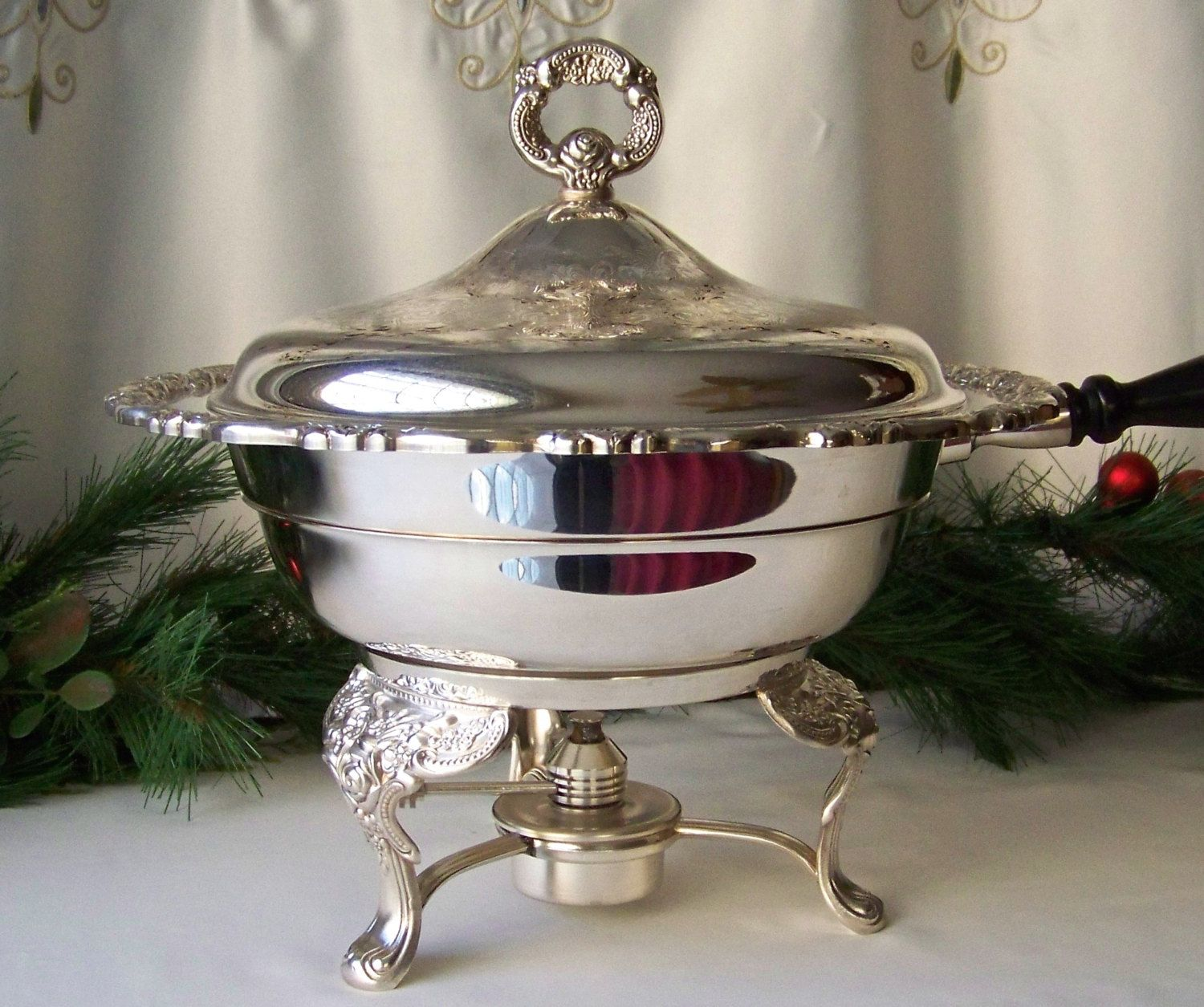 Vintage Silver Plate Chafing Dish By Oneida Silver Ornate