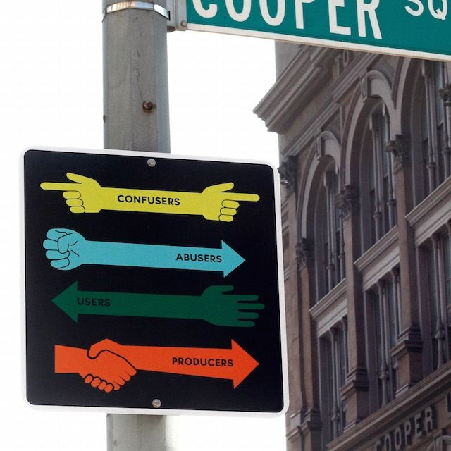 One of Steve Powers' signs for the NYC Department of Transportation. Photo via Vice's Creators Project.