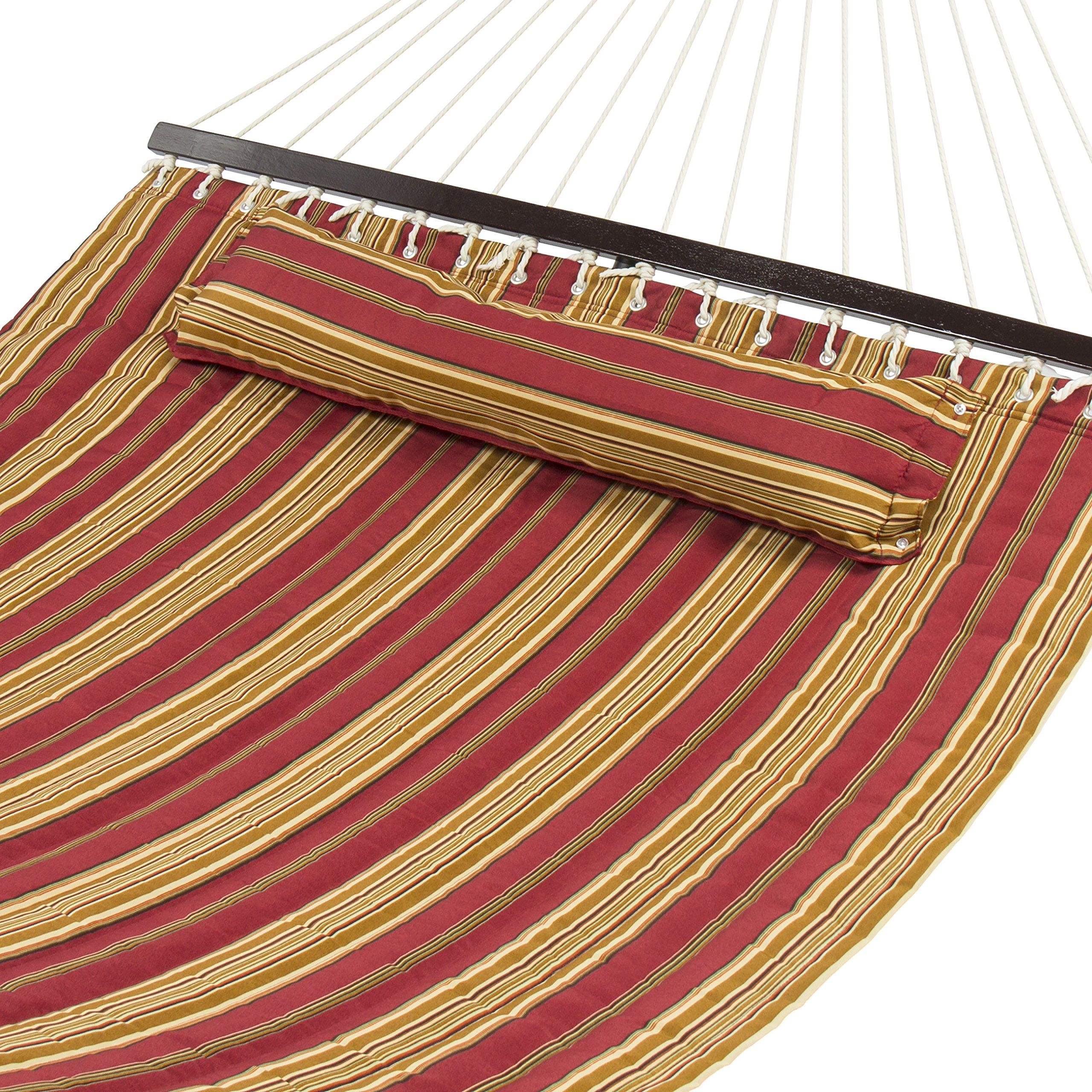 Amazon.com: Best Choice Products® Hammock Quilted Fabric With Pillow Double Size Spreader Bar Heavy Duty Stylish: Patio, Lawn & Garden