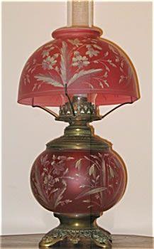Victorian kerosene lamp oil and gas lamps pinterest victorian enameled cranberry table lamp originally made for kerosene now electrified aloadofball Choice Image