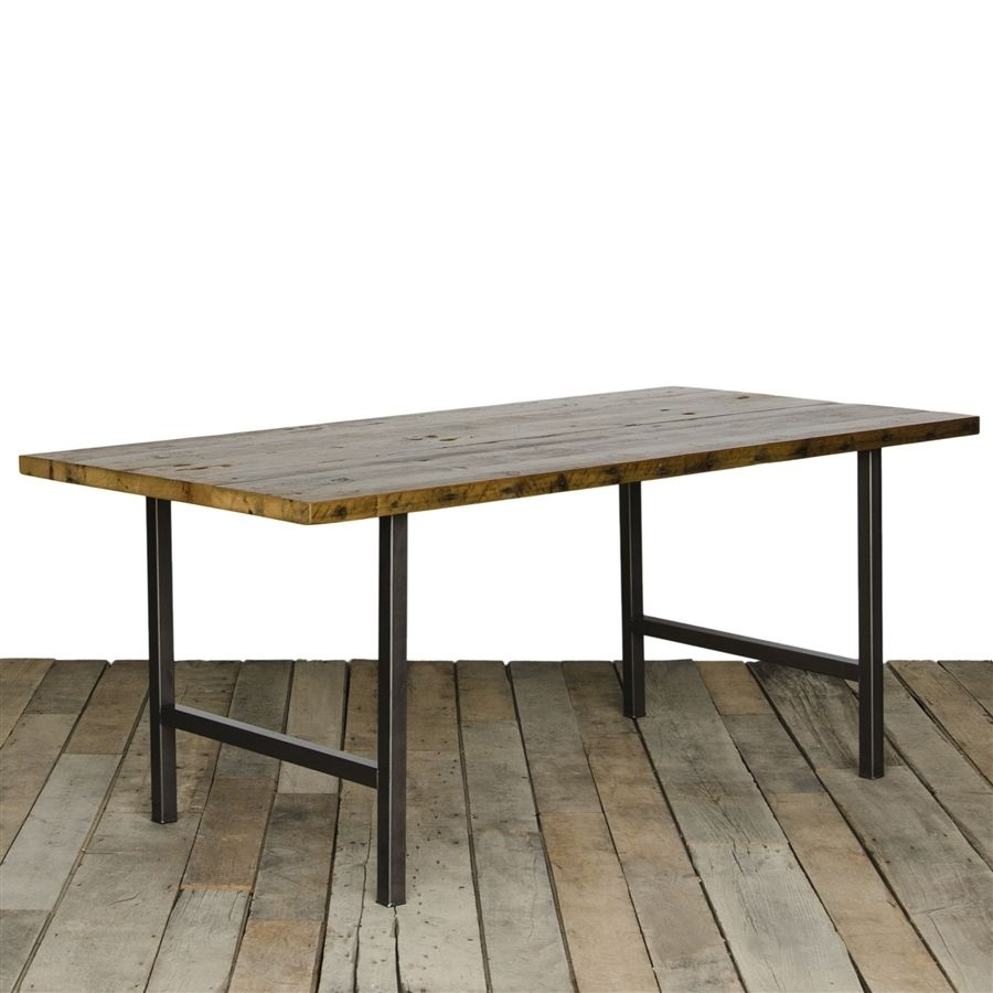Urban Wood And Steel Dining Table Steel Dining Table Reclaimed