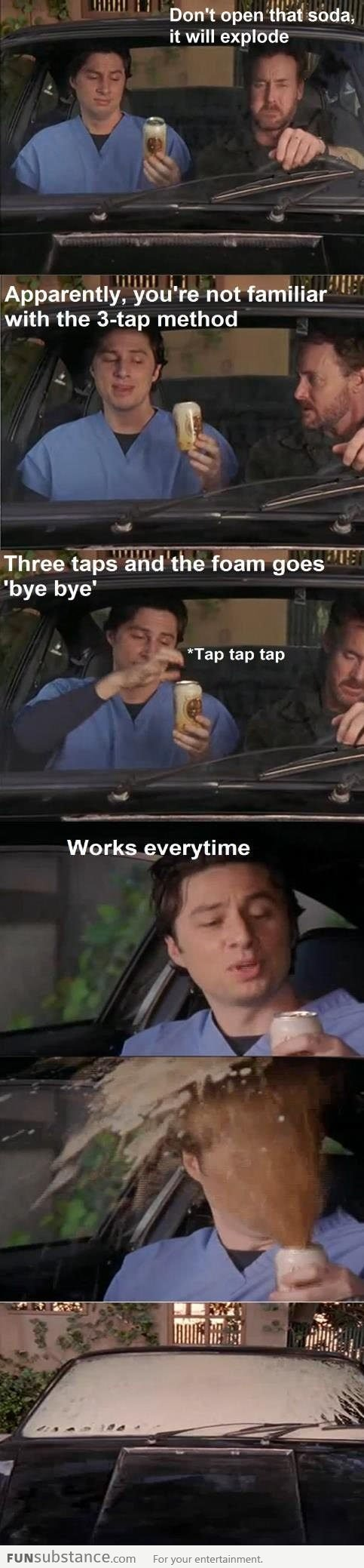 I do the three tap method...