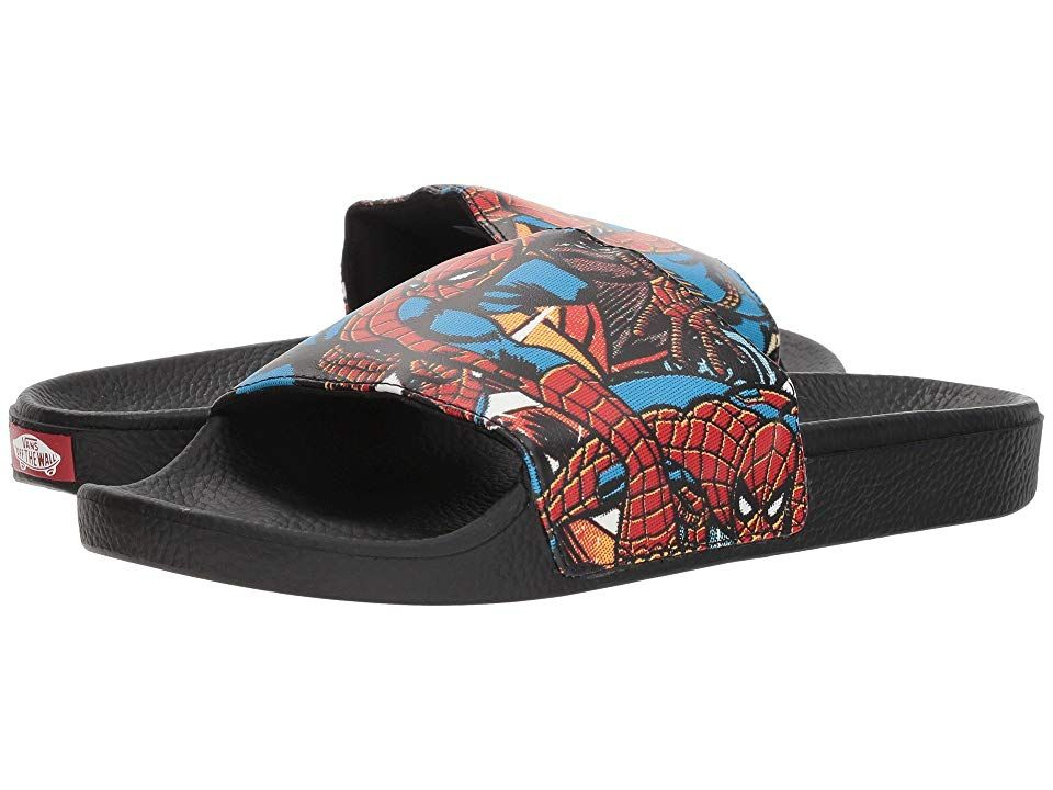 Vans x Marvel Mens Spiderman Slides Flip Flops Black Red