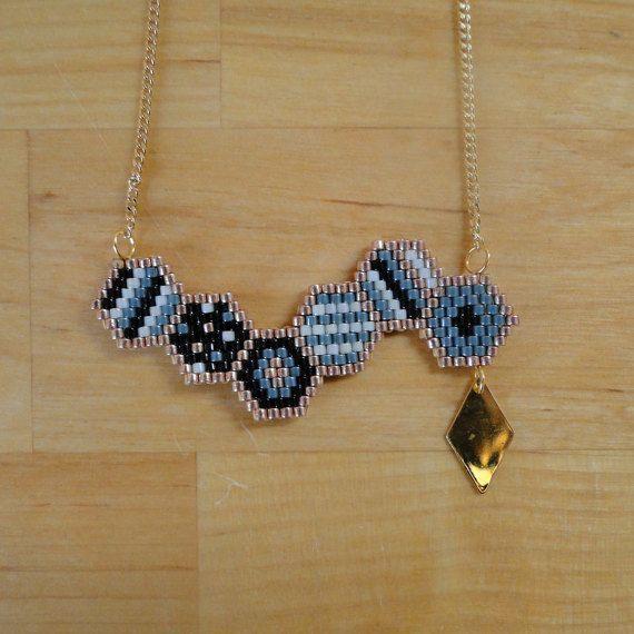Photo of Items similar to Necklace beads Miyuki woven, black, green, light green, Golden, woman, hexagonal geometric pattern collar on Etsy