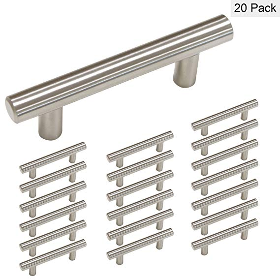 Homdiy Brushed Nickel Cabinet Handles Hd201sn Cabinet Hardware 20 Pack Drawer Pulls 8in Hole Centers Cabine Cabinet Handles Cabinet Door Handles Door Handles