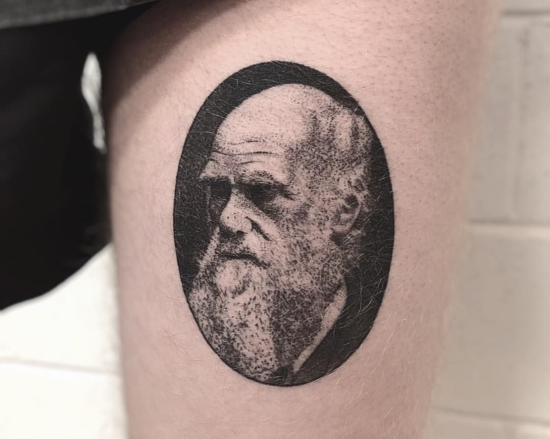 3 months healed Charles Darwin\'s portrait. Done at @littlegoldstudio ...