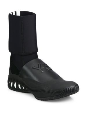 Y-3 Bball Cage Leather Mid-Calf Boots. #y-3 #shoes #boots