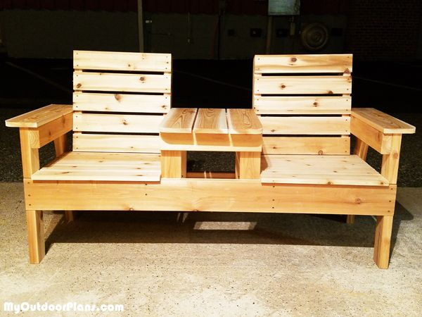 DIY Outdoor Chair Bench with Table   Free Garden Bench ...
