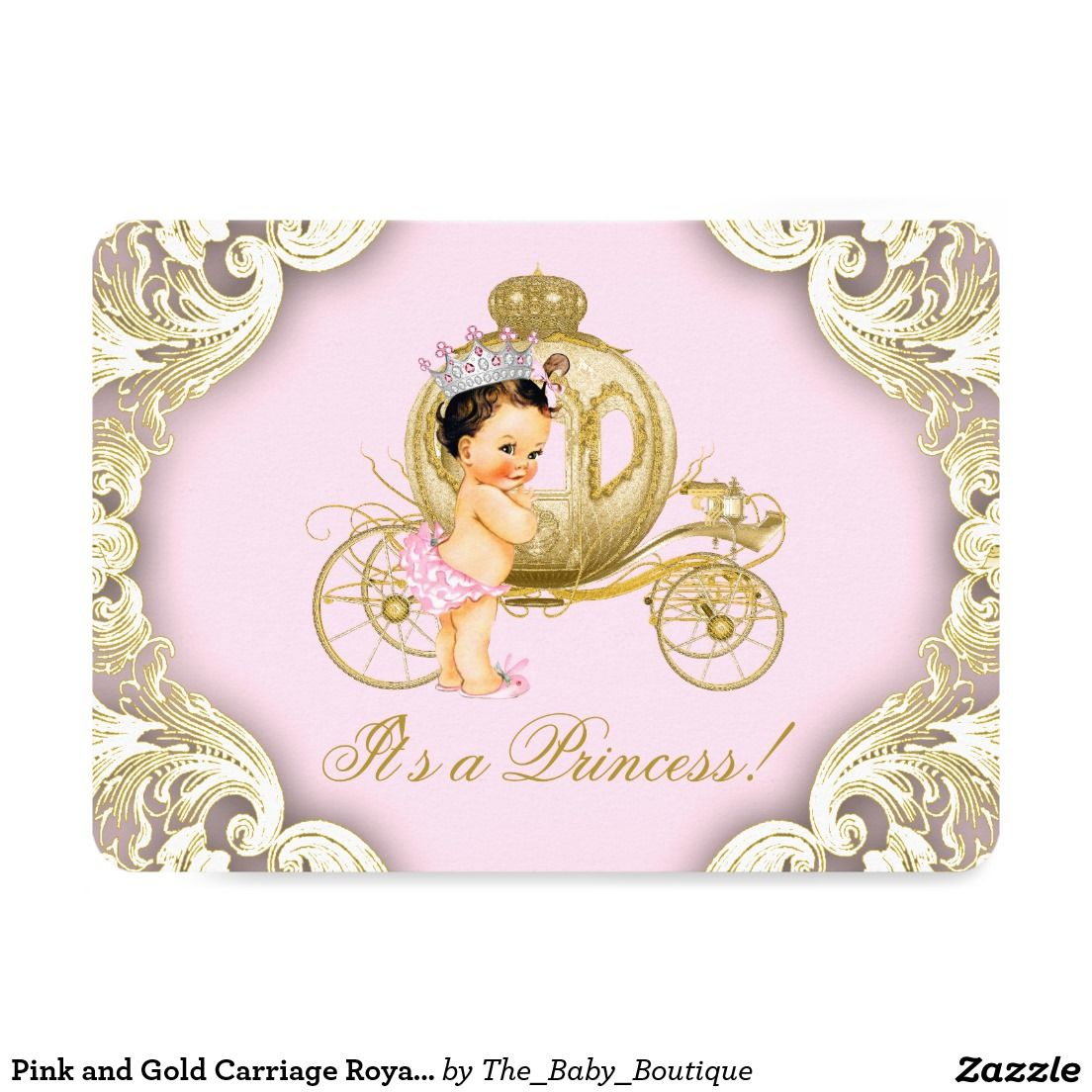 Pink and Gold Carriage Royal Princess Baby Shower 4.5x6.25 Paper ...
