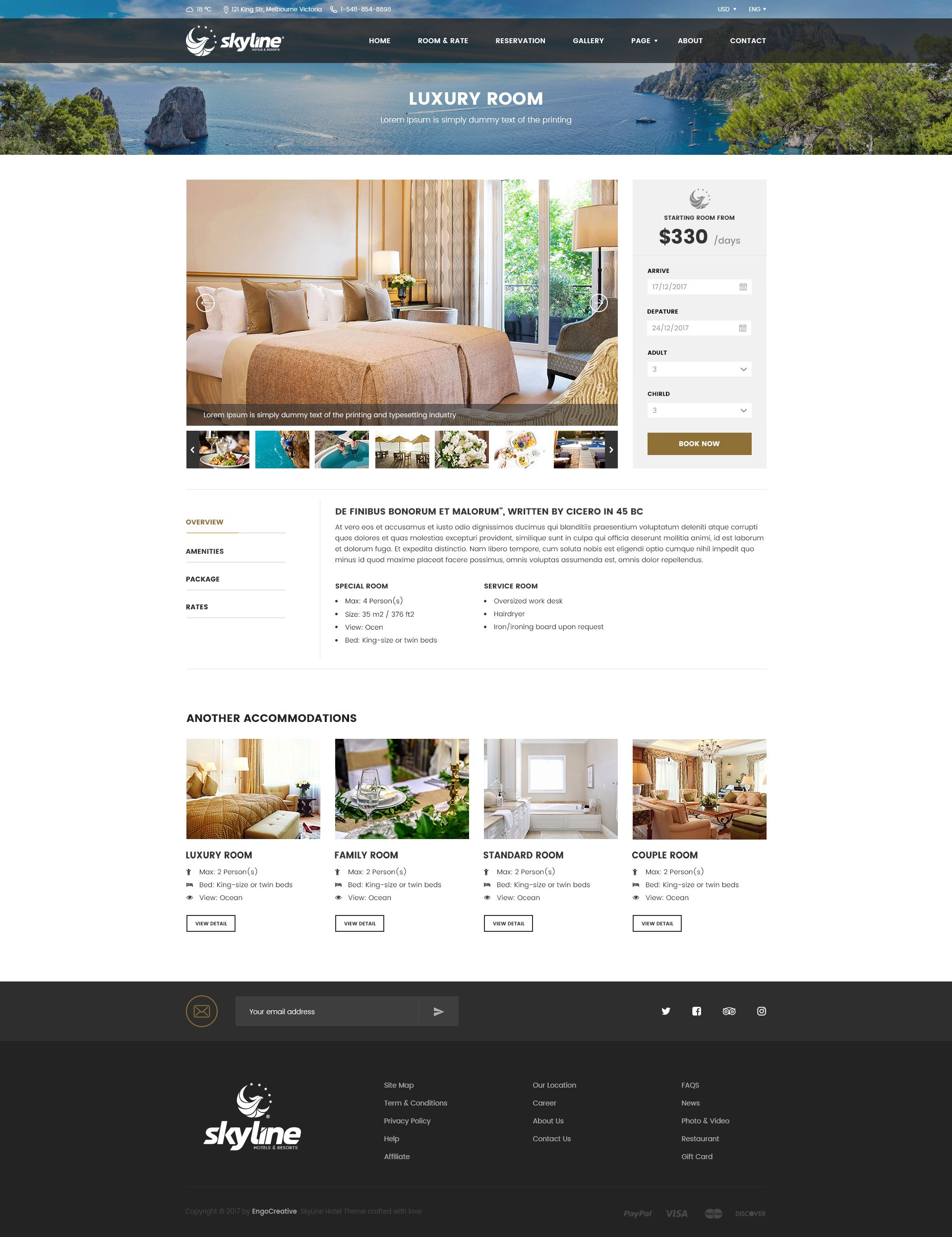 Room Design Layout Templates: SkyLine - Hotel Booking PSD Template