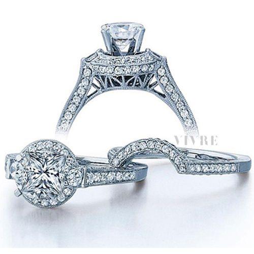 2 00 Carat Princess And Round Cut Vintage Wedding Ring Set In 10k