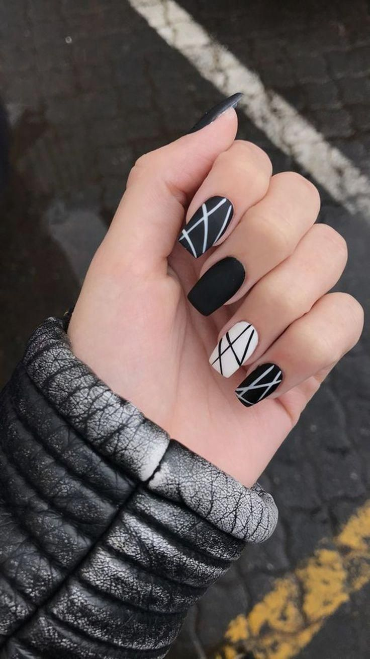 30+ Trendy Matte Black Nails Designs Inspirations Koees Blog #black #designs #ma …