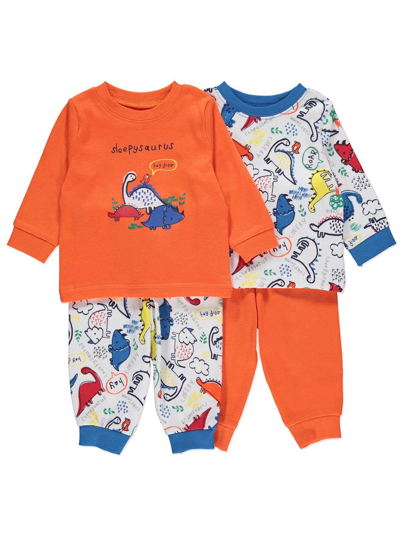 Orange Dinosaur Pyjamas 2 Pack Baby George Trendy Baby
