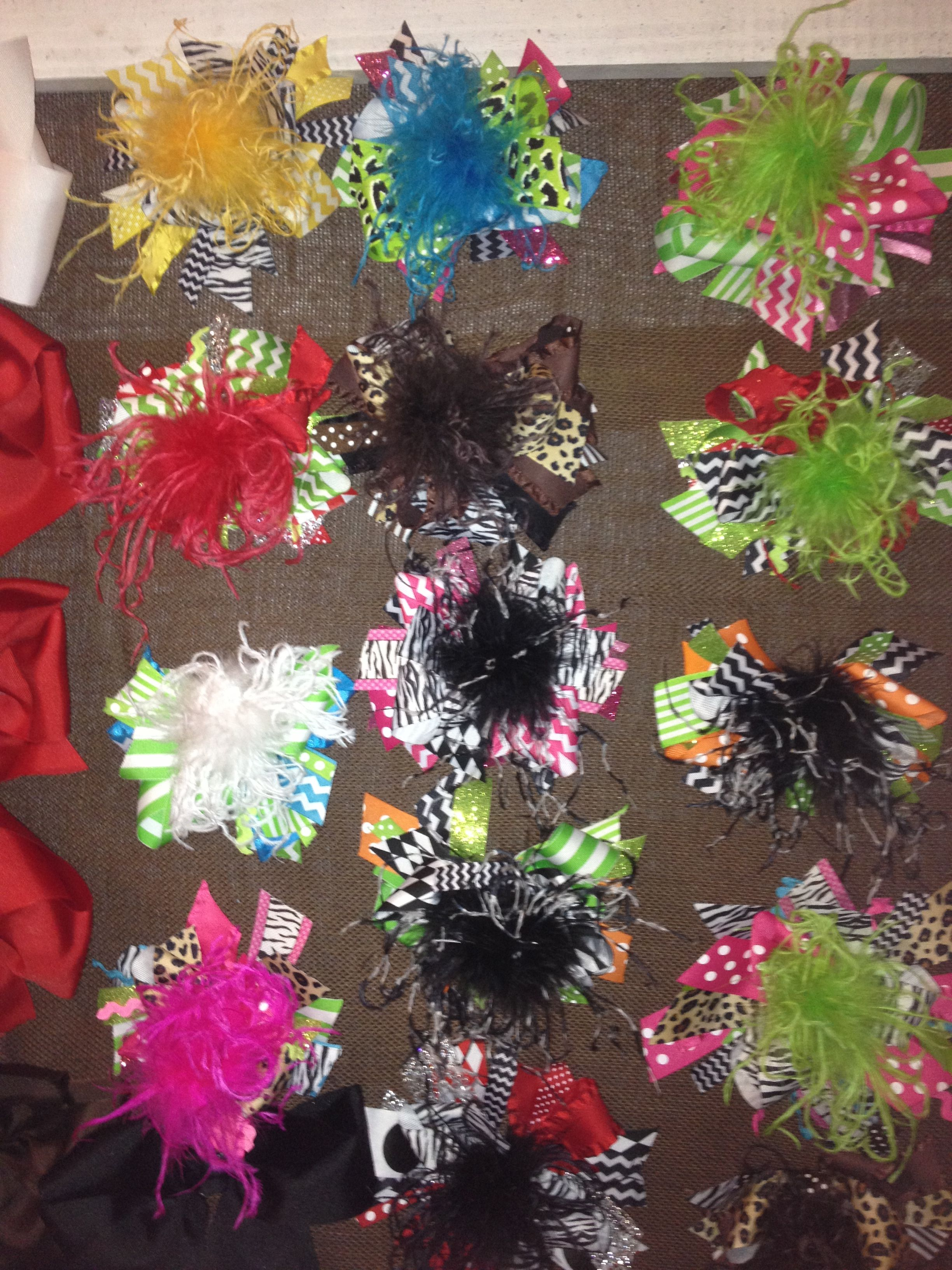In love with over the top hairbows made these for a festival