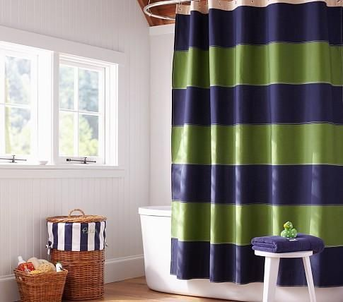 navy blue and yellow shower curtain. kids shower curtains  Bath Rugby Shower Curtain Pottery Barn Kids navy blue