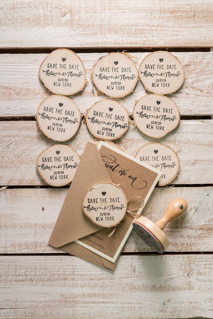 Ahorre la fecha Tarjeta de artesanía con imán de nevera de rebanada de madera perfecto para bodas rústicas …