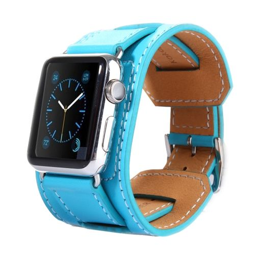 [$16.93] Kakapi Bracelet Style Metal Buckle Cowhide Leather Watchband with Connector for Apple Watch 38mm(Blue)