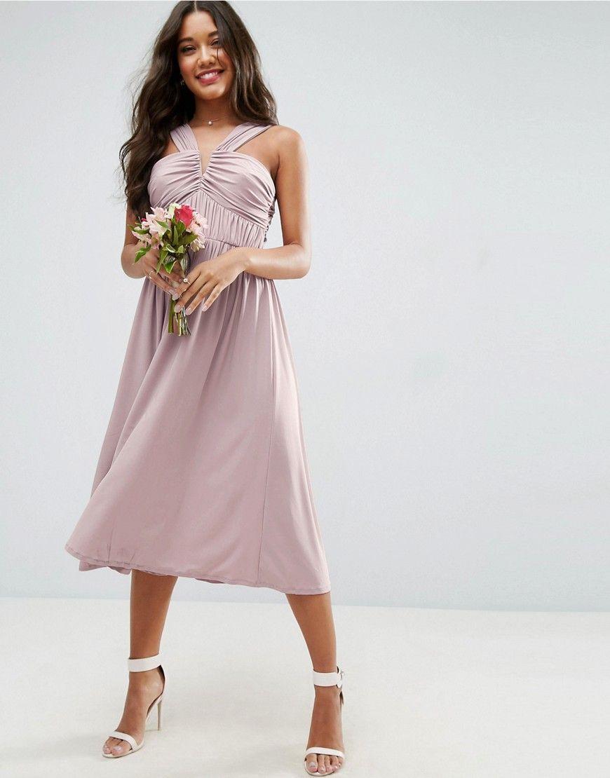 ASOS WEDDING V Front Ruched Front Midi Dress - Beige   Wedding ...