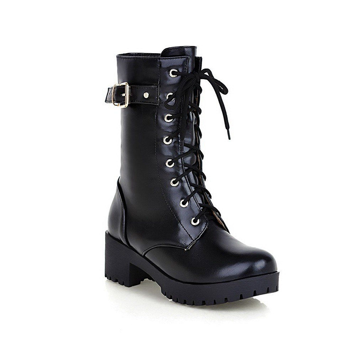 Women's High-Heels Round Closed Toe Artificial Cow Leather Hook-and-loop Boots