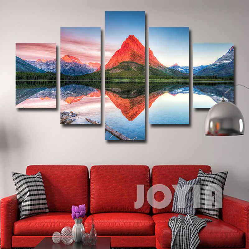 5 Panel Modern Home Decor Prints Mountain Reflections Lake Landscape Painting Pictures Canvas Art For Living