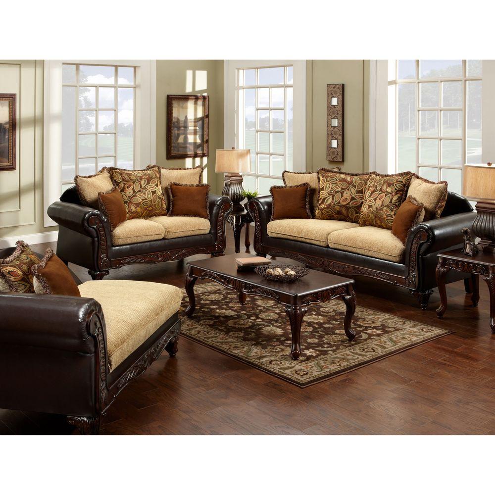 Furniture Of America Nicolai Piece Sofa Set Light Mocha - Espresso living room furniture